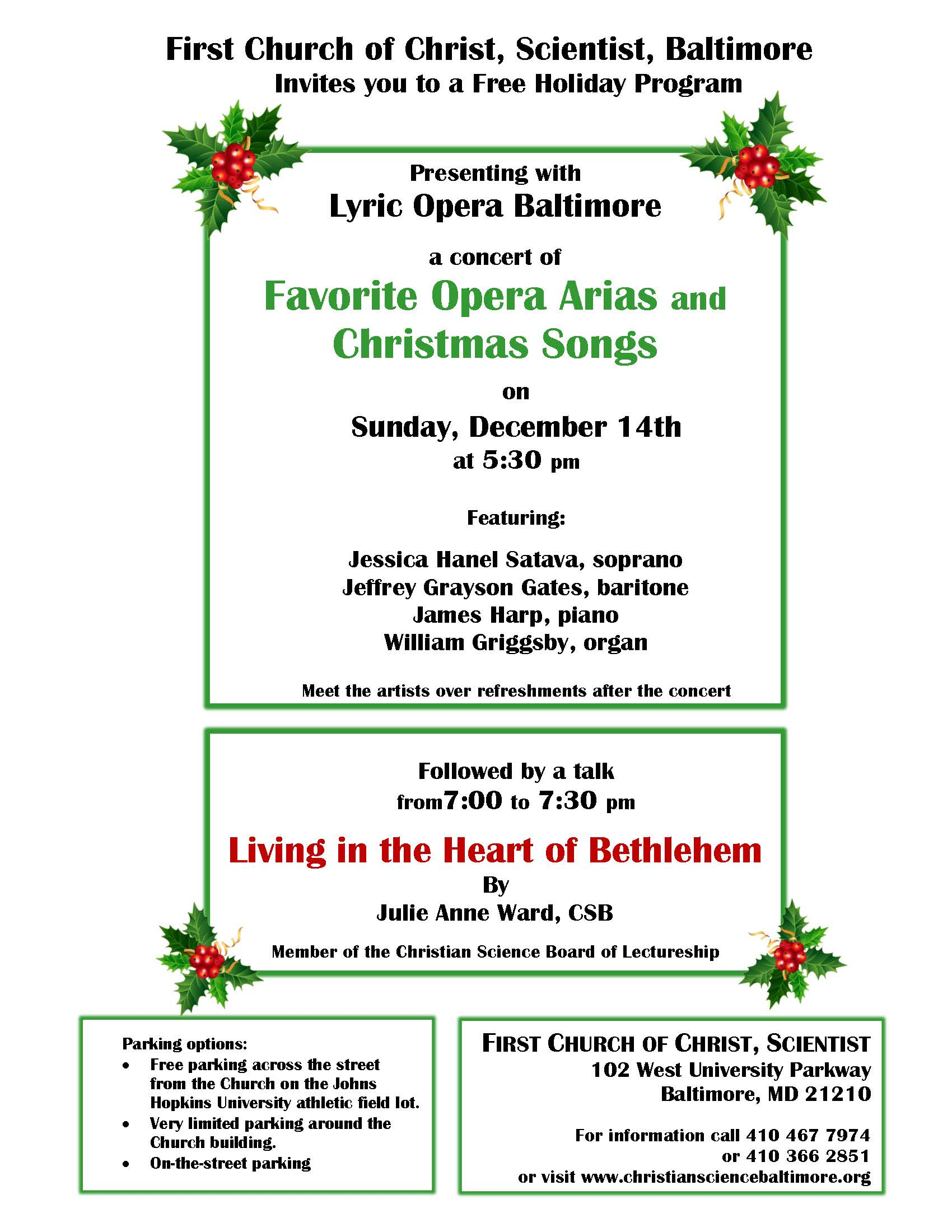 christmas concert and talk at first church baltimore - Christmas Songs For Church